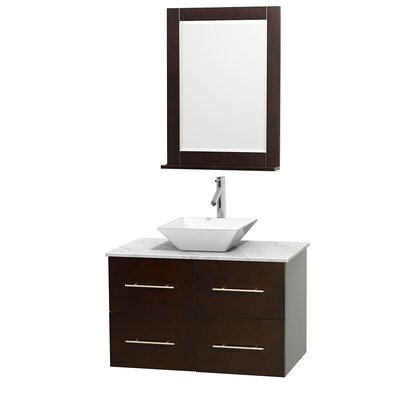 Centra 36 Single Espresso Bathroom Vanity Set with Mirror Top Finish: White Carrera Marble, Sink Finish: White Porcelain