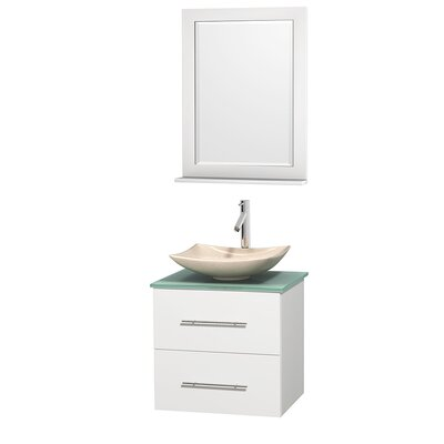 Centra 24 Single White Bathroom Vanity Set with Mirror Top Finish: Green Glass, Sink Finish: Avalon White Carrera Marble