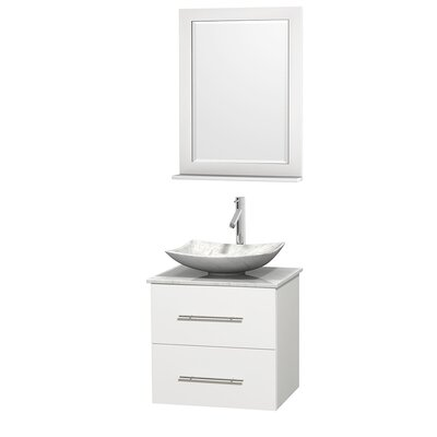 Centra 24 Single White Bathroom Vanity Set with Mirror Top Finish: White Carrera Marble, Sink Finish: Arista White Carrera Marble