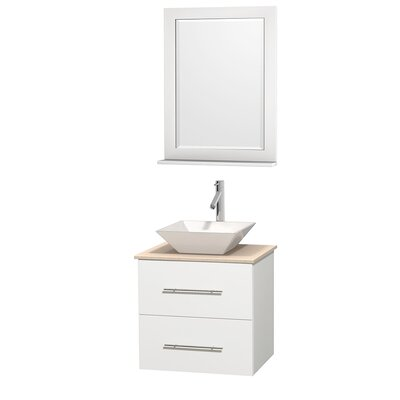 Centra 24 Single White Bathroom Vanity Set with Mirror Top Finish: Ivory Marble, Sink Finish: White Porcelain
