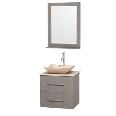 Centra 24 Single Gray Oak Bathroom Vanity Set with Mirror Top Finish: Ivory Marble, Sink Finish: Avalon Ivory Marble