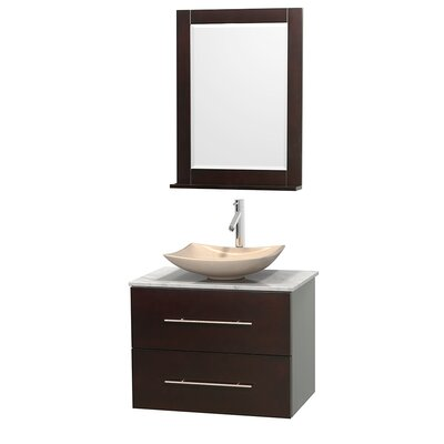 Centra 30 Single Espresso Bathroom Vanity Set with Mirror Top Finish: Green Glass, Sink Finish: Arista White Carrera Marble