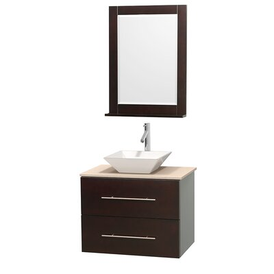 Centra 30 Single Espresso Bathroom Vanity Set with Mirror Top Finish: Ivory Marble, Sink Finish: White Porcelain