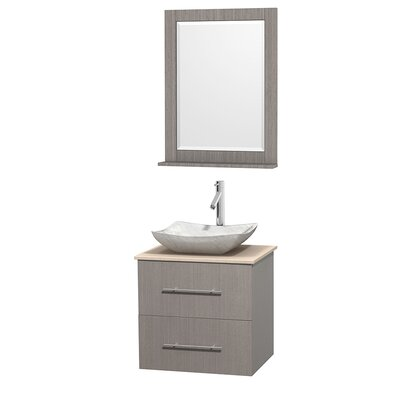 Centra 24 Single Gray Oak Bathroom Vanity Set with Mirror Top Finish: Green Glass, Sink Finish: Arista White Carrera Marble
