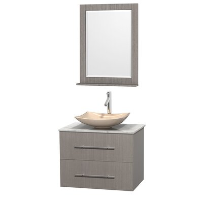 Centra 30 Single Gray Oak Bathroom Vanity Set with Mirror Top Finish: White Man-Made Stone, Sink Finish: Arista White Carrera Marble
