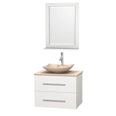 Centra 30 Single White Bathroom Vanity Set with Mirror Sink Finish: Arista White Carrera Marble, Top Finish: Green Glass