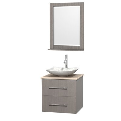 Centra 24 Single Gray Oak Bathroom Vanity Set with Mirror Top Finish: Ivory Marble, Sink Finish: Arista White Carrera Marble