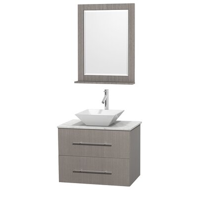 Centra 30 Single Gray Oak Bathroom Vanity Set with Mirror Top Finish: White Carrera Marble, Sink Finish: White Porcelain
