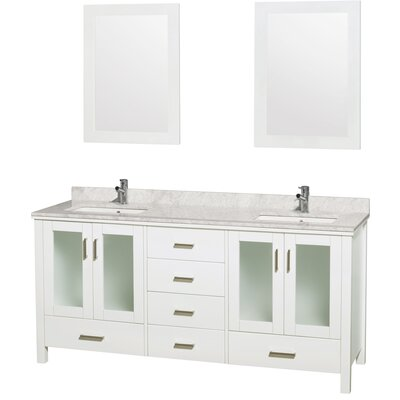 Lucy 72 Double Bathroom Vanity Set with Mirrors Top Finish: White Carrera Marble