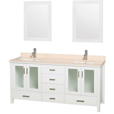 Lucy 72 Double Bathroom Vanity Set with Mirrors Top Finish: Ivory Marble