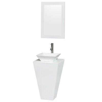 Esprit Arista 20.1 Single Pedestal Bathroom Vanity Set with Mirror in White Sink Finish: White Porcelain