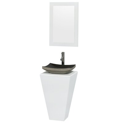Esprit Arista 20.1 Single Pedestal Bathroom Vanity Set with Mirror in White Sink Finish: Black Granite