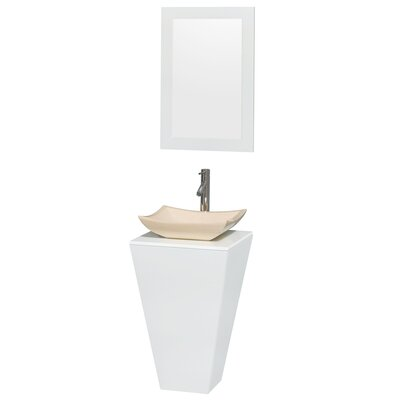 Esprit Arista 20.1 Single Pedestal Bathroom Vanity Set with Mirror in White Sink Finish: Bone Porcelain
