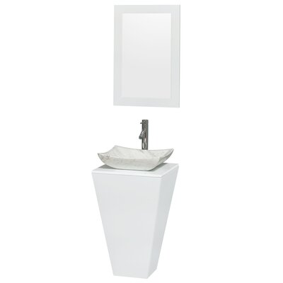 Esprit Arista 20.1 Single Pedestal Bathroom Vanity Set with Mirror in White Sink Finish: Smoke Glass