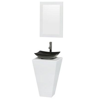 Esprit Arista 20.1 Single Pedestal Bathroom Vanity Set with Mirror in White Sink Finish: Arista Black Granite