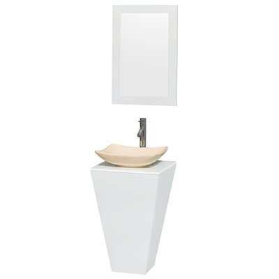 Esprit Arista 20.1 Single Pedestal Bathroom Vanity Set with Mirror in White Sink Finish: Arista Ivory Marble