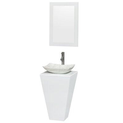 Esprit Arista 20.1 Single Pedestal Bathroom Vanity Set with Mirror in White Sink Finish: Avalon White Carrera Marble