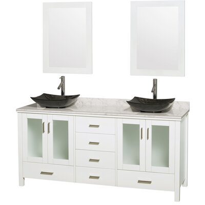 Lucy Avalon 72 Double White Bathroom Vanity Set with Mirror Top Finish: White Carrera Marble, Sink Finish: Altair Black Granite
