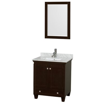 Acclaim 30 Single Espresso Bathroom Vanity Set with Mirror Top Finish: White Carrera Marble