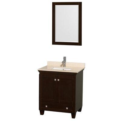 Acclaim 30 Single Espresso Bathroom Vanity Set with Mirror Top Finish: Ivory Marble