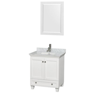Acclaim 30 Single White Bathroom Vanity Set with Mirror Top Finish: White Carrera Marble