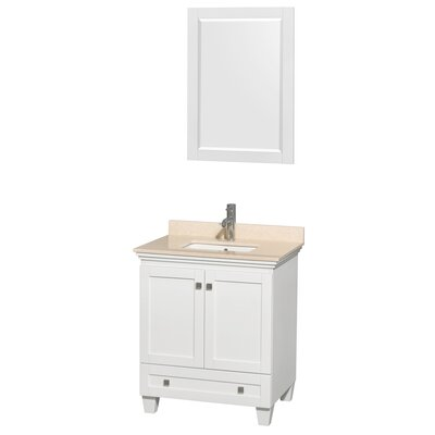 Acclaim 30 Single White Bathroom Vanity Set with Mirror Top Finish: Ivory Marble