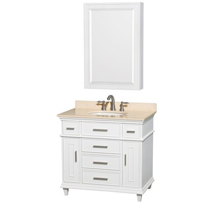 Berkeley 34 Single White Bathroom Vanity Set with Medicine Cabinet Top Finish: Ivory Marble