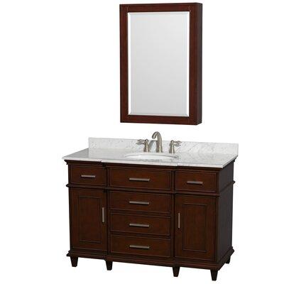Berkeley 48 Single Dark Chestnut Bathroom Vanity Set with Medicine Cabinet Top Finish: White Carrera Marble