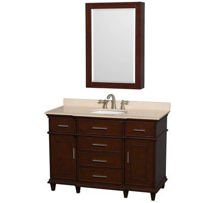 Berkeley 48 Single Dark Chestnut Bathroom Vanity Set with Medicine Cabinet Top Finish: Ivory Marble