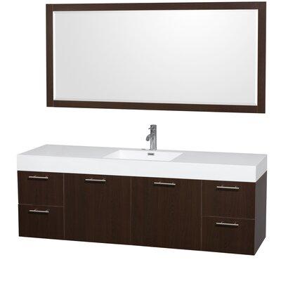 Amare 72 Single Espresso Bathroom Vanity Set with Mirror