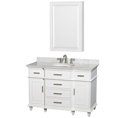 Berkeley 48 Single White Bathroom Vanity Set with Medicine Cabinet Top Finish: White Carrera Marble
