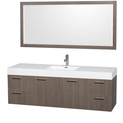 Amare 72 Single Gray Oak Bathroom Vanity Set with Mirror