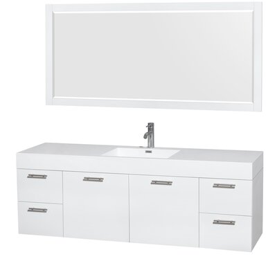 Amare 72 Single Glossy White Bathroom Vanity Set with Mirror