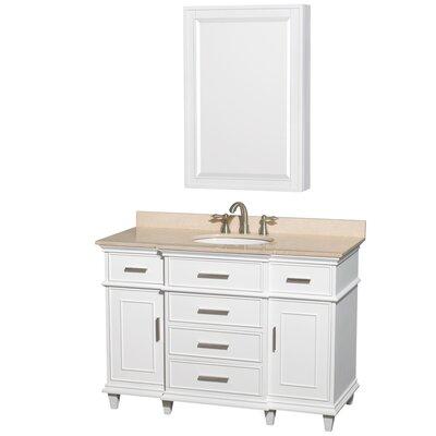 Berkeley 48 Single White Bathroom Vanity Set with Medicine Cabinet Top Finish: Ivory Marble