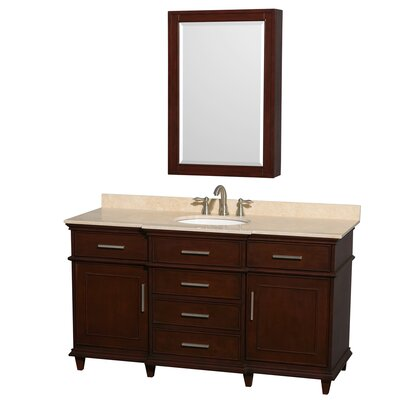 Berkeley 60 Single Dark Chestnut Bathroom Vanity Set with Medicine Cabinet Top Finish: Ivory Marble