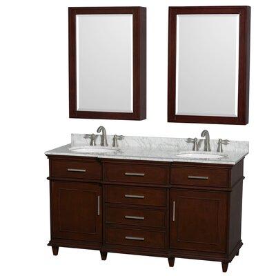 Berkeley 60 Double Dark Chestnut Bathroom Vanity Set with Medicine Cabinet Top Finish: White Carrera Marble
