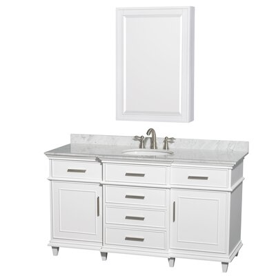 Berkeley 60 Single White Bathroom Vanity Set with Medicine Cabinet Top Finish: White Carrera Marble
