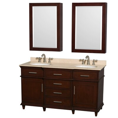 Berkeley 60 Double Dark Chestnut Bathroom Vanity Set with Medicine Cabinet Top Finish: Ivory Marble