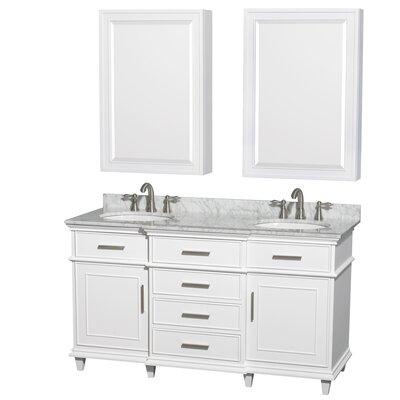 Berkeley 60 Double White Bathroom Vanity Set with Medicine Cabinet Top Finish: White Carrera Marble