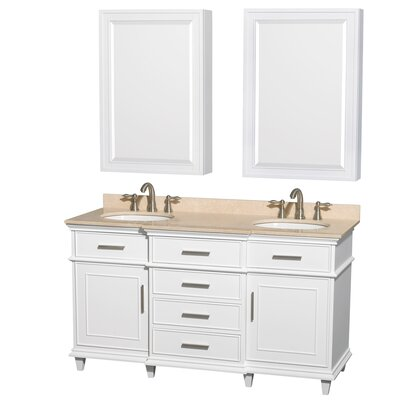 Berkeley 60 Double White Bathroom Vanity Set with Medicine Cabinet Top Finish: Ivory Marble