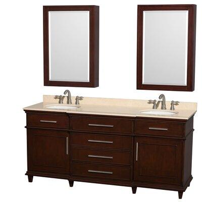 Berkeley 72 Double Dark Chestnut Bathroom Vanity Set with Medicine Cabinet Top Finish: Ivory Marble