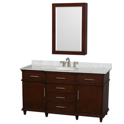 Berkeley 60 Single Dark Chestnut Bathroom Vanity Set with Medicine Cabinet Top Finish: White Carrera Marble