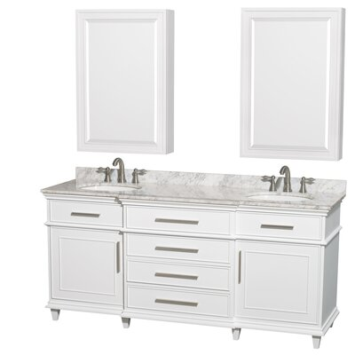 Berkeley 72 Double White Bathroom Vanity Set with Medicine Cabinet Top Finish: White Carrera Marble