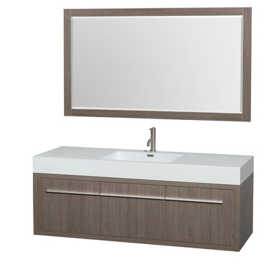 Axa 60 Single Gray Oak Bathroom Vanity Set with Mirror
