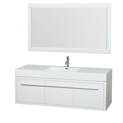 Axa 60 Single Glossy White Bathroom Vanity Set with Mirror