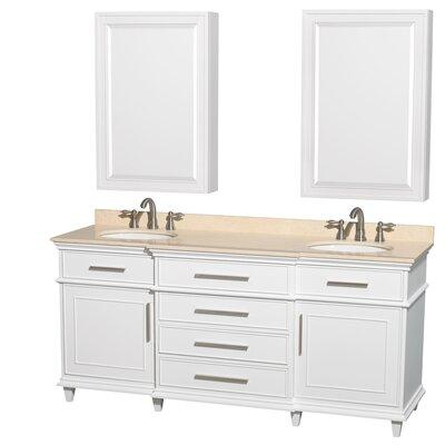 Berkeley 72 Double White Bathroom Vanity Set with Medicine Cabinet Top Finish: Ivory Marble