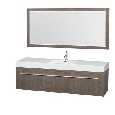 Axa 72 Single Gray Oak Bathroom Vanity Set with Mirror