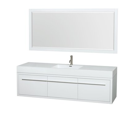 Axa 72 Single Glossy White Bathroom Vanity Set with Mirror