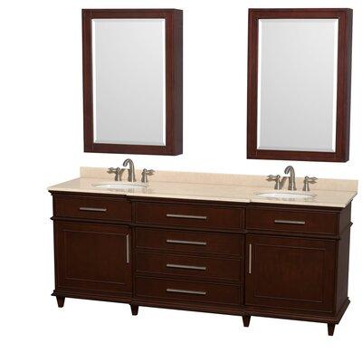 Berkeley 80 Double Dark Chestnut Bathroom Vanity Set with Medicine Cabinet Top Finish: Ivory Marble