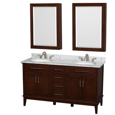 Hatton 60 Double Dark Chestnut Bathroom Vanity Set with Medicine Cabinet Faucet Mount: 8 Centers, Top Finish: White Carrera Marble